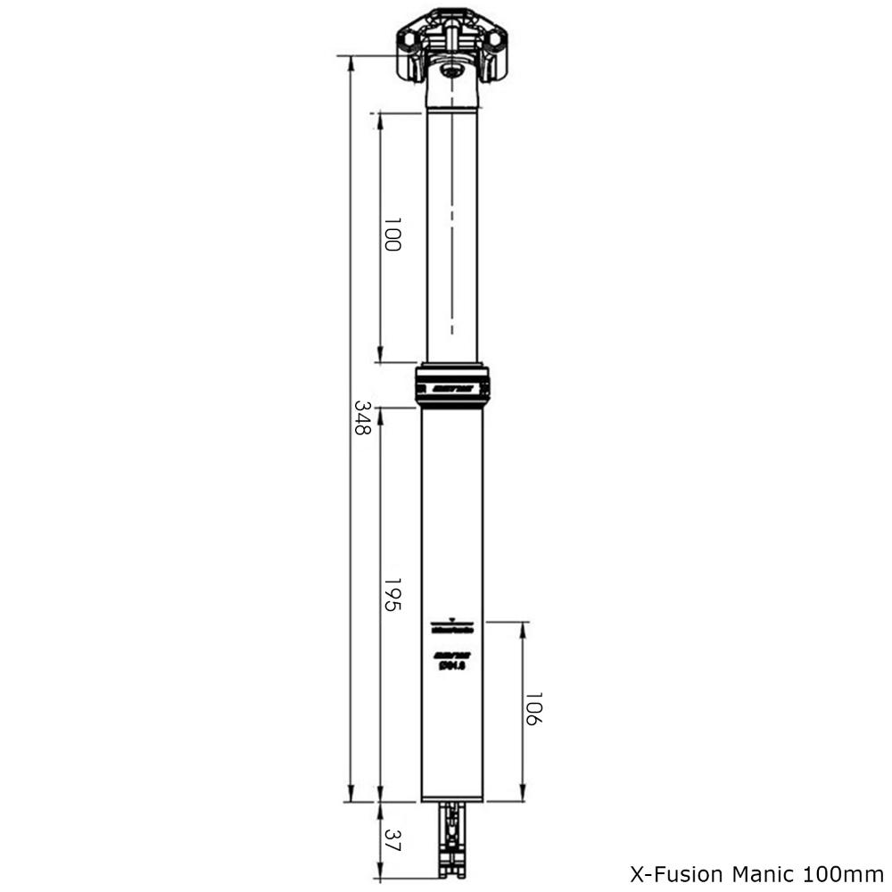 Black 34.9mm X-Fusion Manic Dropper Seatpost 125mm